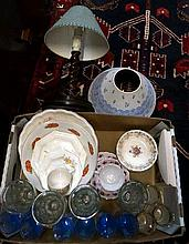 Oak barley twist lamp & box of assorted china &