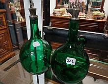 Pr Vic green glass decanters with Patent swivel