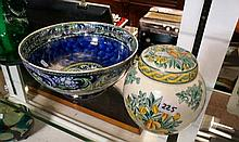 Masons ginger jar & Maling floral fruit bowl