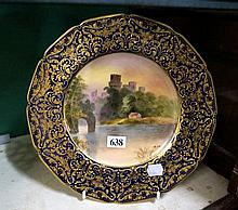 R/Doulton h/painted & gilded display plate,