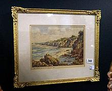 Watercolour, The back beach at Torquay by Arnold Jarvis