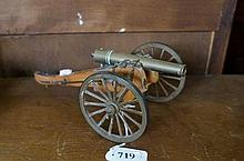 wooden & brass model of early C19th artillery cannon
