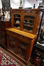 Unusual Vic oak bookcase of small proportions