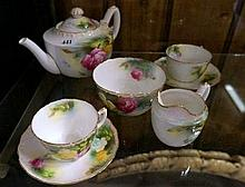 R/Worcester h/painted roses tea set for 2 c1905 signed on base by Hadley