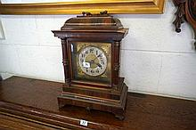C19th German walnut bracket clock with brass handle top