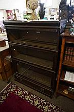 1920's Globe Werneke 3 sectional stacking bookcase with bottom drawer