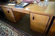 French Art Deco oak Partners desk