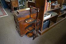1920's oak double sided folding cake stand