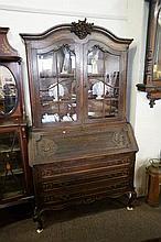 French carved oak bureau bookcase