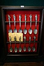Pewter Dickens characters spoon set wall display