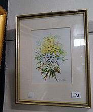 watercolour of still life flowers by Peg Maltby