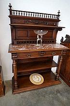 C19th French carved oak 2 drawer servery