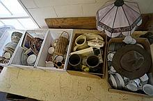 5 boxes of china inc 3 dinner sets etc, Scout hat, alladin & electric lamps