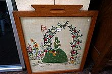 Hand embroided crinoline lady fire screen