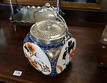 Vic Doulton Burslem Imari pattern biscuit barrel