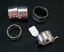 5 S/silver napkin rings inc a pair