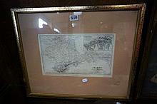 C19th framed map of Crimea