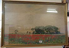 Watercolour of field of poppies by V Ward 1932