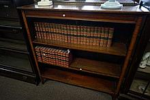 Edw inlaid mah open bookcase with brass gallery back