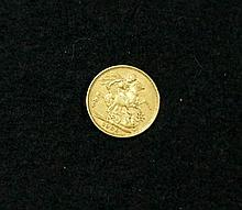 Vic gold 1880 Melbourne Mint sovereign in fine condition