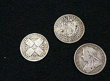 2 Vic 1893 & 1899 half crowns in fine condition & worn 'Gothic' florin