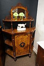 Vic inlaid burr walnut what not cabinet