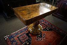 Unusual Burr Walnut pedestal base card table