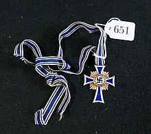German Nazi WWII Cross of Honor of the German Mother enamel medal dated 6th December 1938