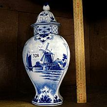 Continental h/painted lidded blue & white vase