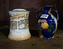 R/Doulton Bill sykes pot & cover & Tunstall vase