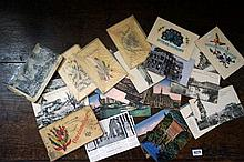 Collection of WWI postcards inc silk embroidered, Dardanelles inc Gallipoli etc