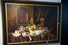 Large Oil on canvas, still life Fruit & flowers