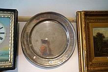 Large late C18th pewter dish