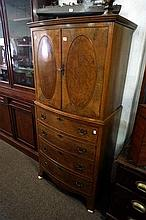 Mid C20th burr walnut cupboard on chest of drawers