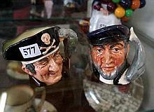 2 Royal Doulton sm character jugs, Long John & Capt Arab