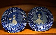 Pr English blue & white plates of Noble Ladies