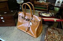 Vintage Birkin style leather handbag stamped Hermes Paris