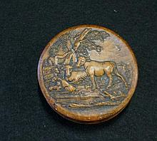 Georgian burr wood snuff box with pressed decoration top depictiong farmer with cows