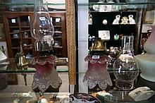 Pr unusual Vic ruby frosted glass kero lamps