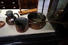 Pr Vic copper saucepans & copper & pewter lidded jug