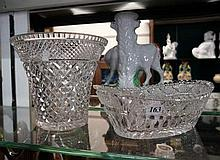 Trumpet shaped cut crystal vase & crystal boat shaped bowl