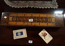 Vic inalid walnut crib board topped box containig playing cards