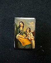C19th h/painted papier mache snuff box depicting Mother with child