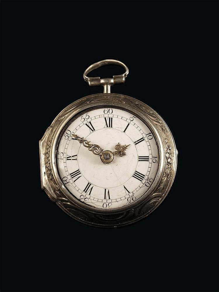 A silver repoussé pair cased verge watch