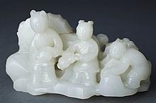Fine Antique Chinese Carved White Jade Group