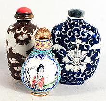 Three Chinese Enamel and Porcelain Snuff Bottles