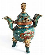 Superior Chinese Cloisonne Enamel Censer & Cover