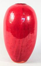 Southern Stoneware Chrome Red Art Vase