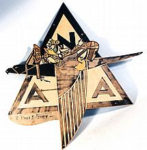 WWII Disney Donald Duck Painted Metal Insignia
