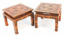 Pair Mid-Century Chinese Style Low Tables